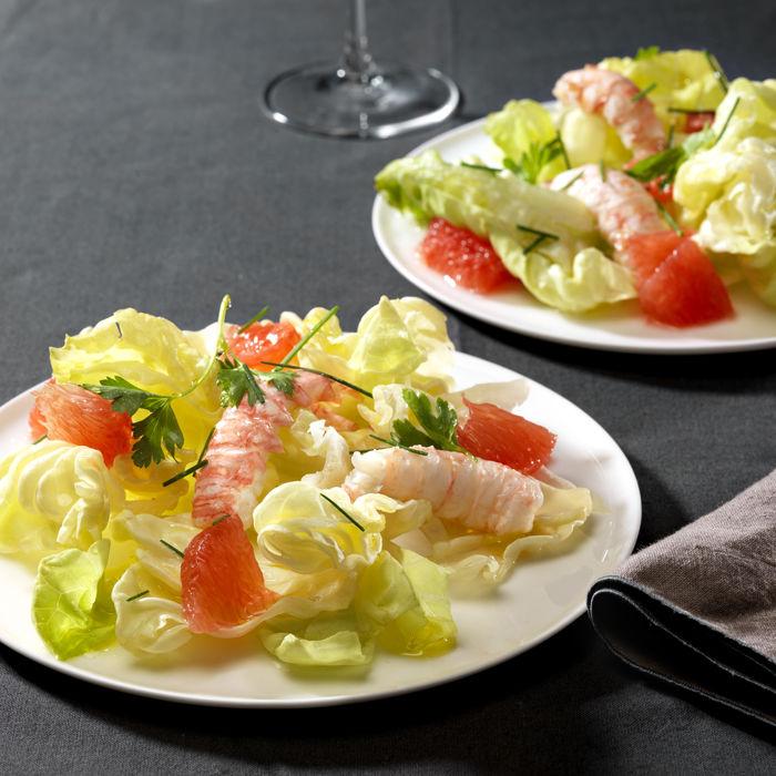 Salade de Coeur de laitue et pamplemousse et langoustines