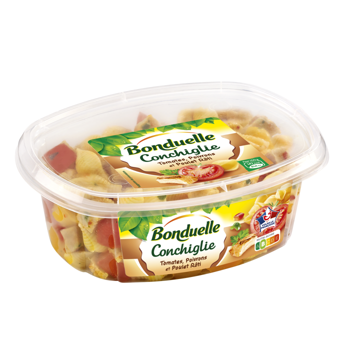 Salade de Pâtes, Tomates, Poivrons et Poulet Rôti