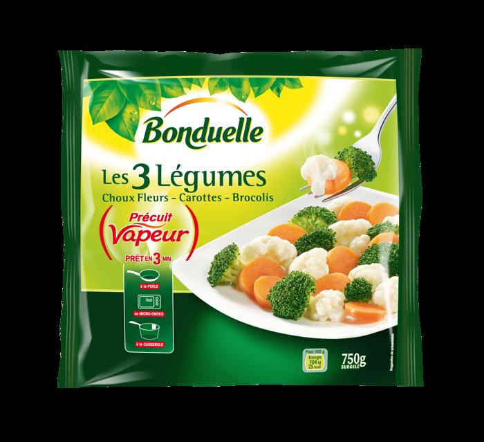 Les 3 Légumes Précuit Vapeur choux fleurs, carottes et brocolis