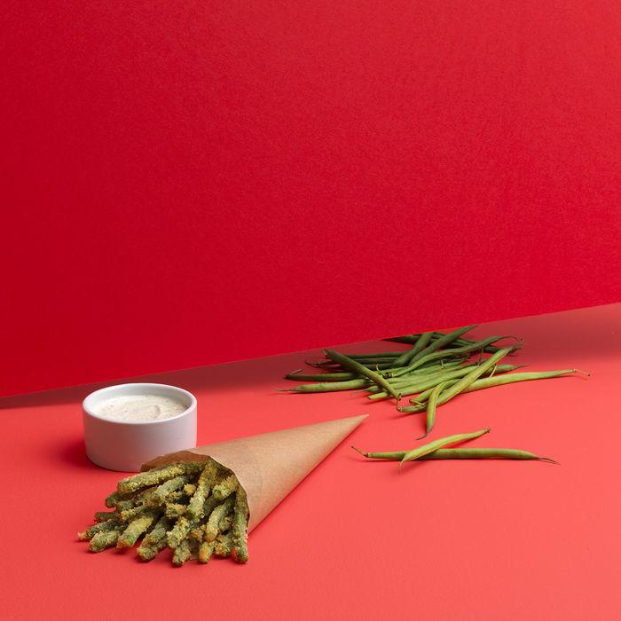 Haricots verts croustillants au parmesan
