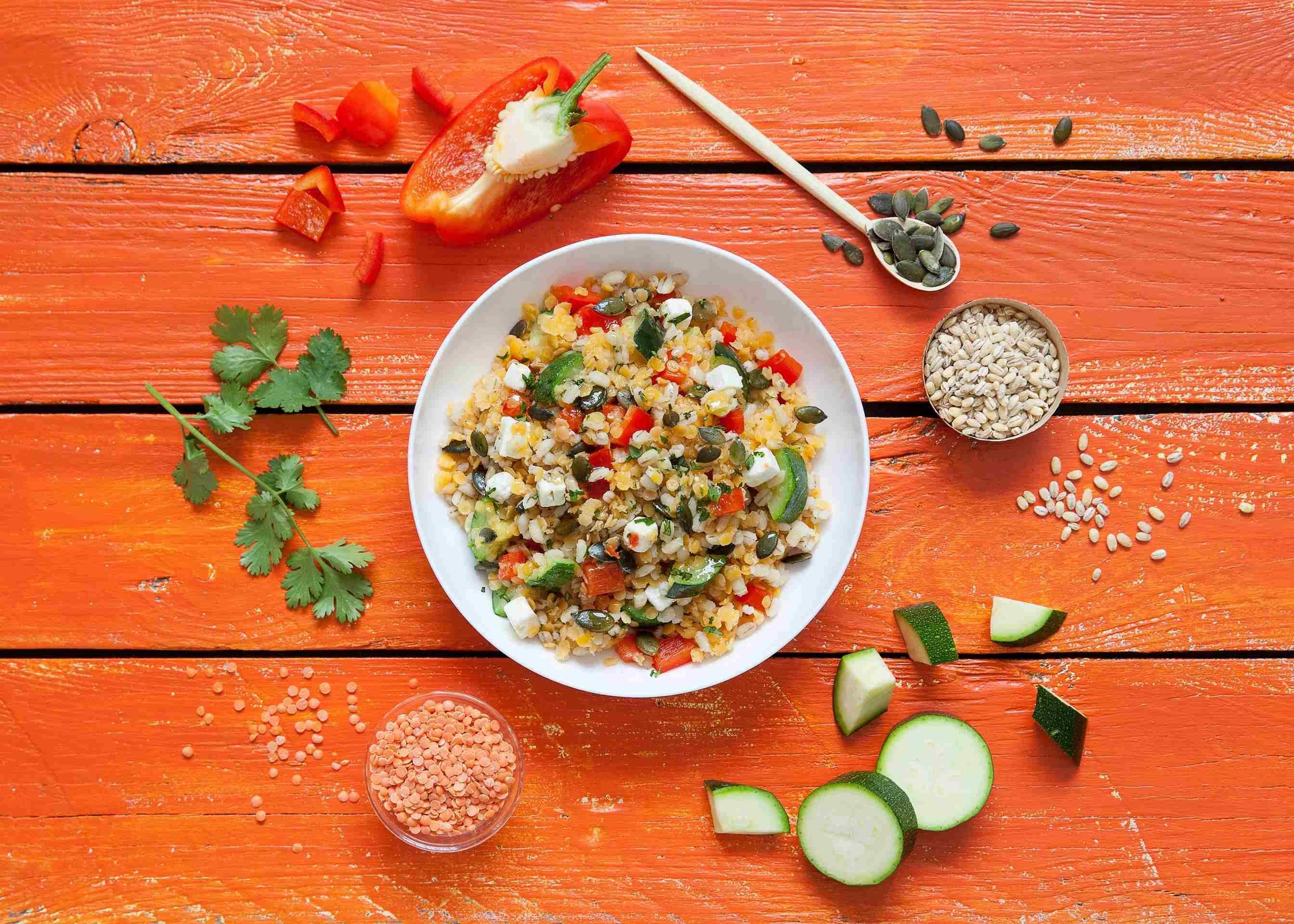 Salade A Emporter Orge Lentilles Corail Legumes Bonduelle